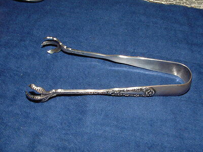 Antique STERLING SILVER Sugar Cube Tongs WF ENGLEHART Floral CLAW ENDS Engraved