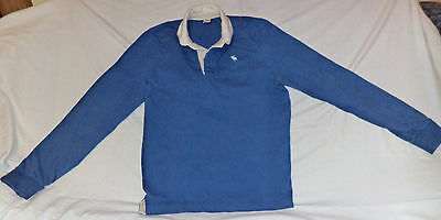 Abercrombie & Fitch L/s Blue W/ White  Button Top Collared Polo     Xl    K#4714