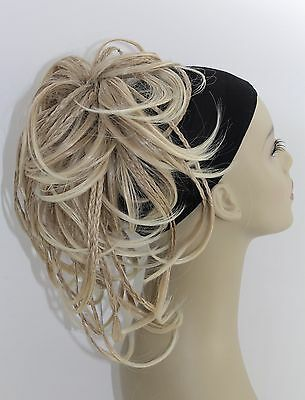 Synthetic Straight Tousled Braided Hairpiece Bun Ponytail ElasticScrunchies updo