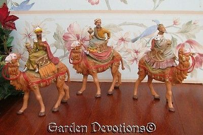 """Set of 3 ~ 5"""" KINGS ON CAMELS Incredible Fontanini Nativity Pieces ~ NEW!"""