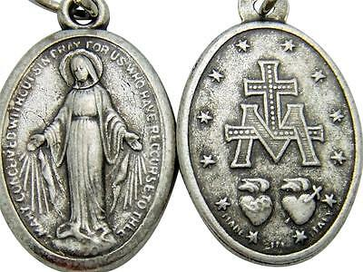 """MRT Catholic Miraculous Mary Holy Medal Gift Silver Tone Metal 7/8"""" Made Italy"""
