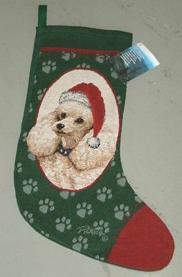 Poodle Tapestry Christmas Stocking ~ Artist, Linda Picken