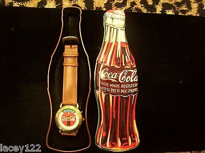1997 Coca Cola Coke Advertising Logo Watch With Bottle Shaped Tin Never Worn