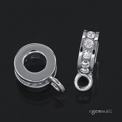 1x Sterling Silver CZ Pendant Charm Connector For European Bracelet & Cord 97600