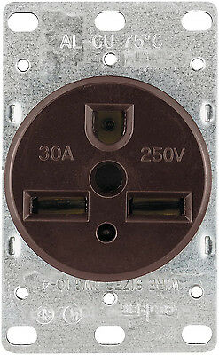 Cooper Wiring Devices 1234-BOX 30-Amp 250-Volts Power Receptacle, Brown