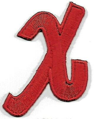 """LETTERS - Red Script  2"""" Letter """"X"""" - Iron On Embroidered Applique"""