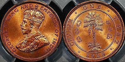Ceylon 1929 One Cent 1c PCGS MS64RD Choice Uncirculated