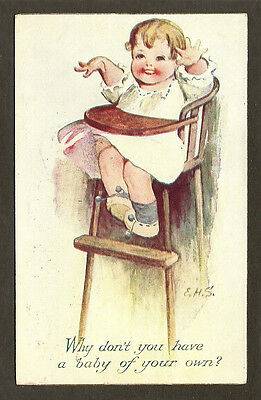 POSTCARD:  CUTE BABY IN A HIGH CHAIR - by ELLEN SAUNDERS (E.H.S.) - Mailed, 1910