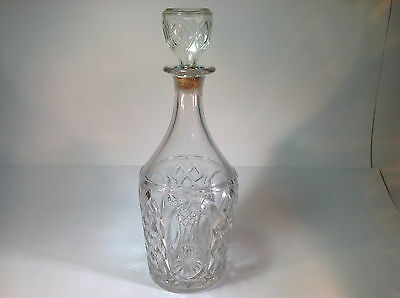 Vintage Cut Crystal Decanter Very Large with Real Cork Stopper