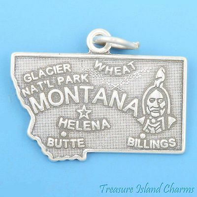 MONTANA STATE MAP HELENA BUTTE BILLINGS .925 Solid Sterling Silver Charm