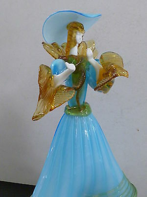 Large Hand Made Art Glass Figurine Of Glamorous Lady / Venetian Glass Co.