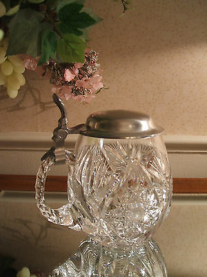 Exquisitely  Clear Cut Crystal Beer Stein w/Pewter Lid and Notched Handle