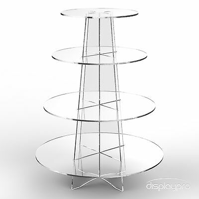 Displaypro 4 Tier Acrylic Cupcake Display Stand Cup Cake Party Holder - Round