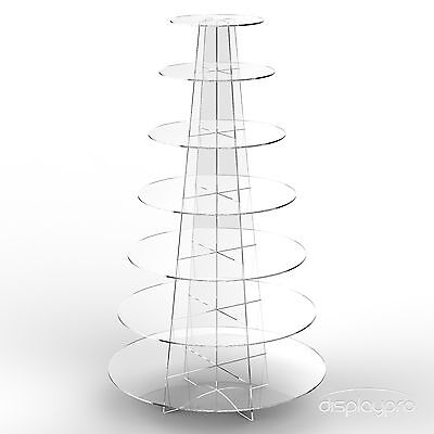 Displaypro 7 Tier Cup Cake Stand Wedding Party Acrylic Cupcake Display - Round