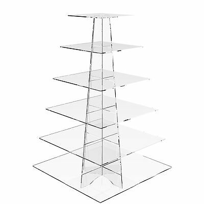 6 Tier Cup Cake Stand Wedding Birthday Party Acrylic Cupcake Display - Square