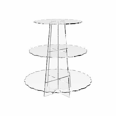 3 Tier Cup Cake Stand Wedding Birthday Party Acrylic Cupcake Display - Scalloped