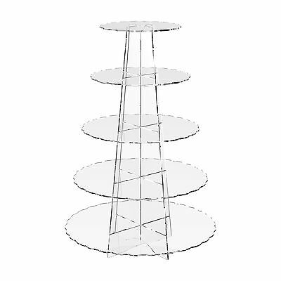 5 Tier Cup Cake Stand Wedding Birthday Party Acrylic Cupcake Display - Scalloped