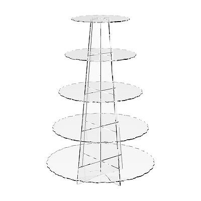 Displaypro 5 Tier Acrylic Cupcake Display Stand Cup Cake Wedding Party - Scallop