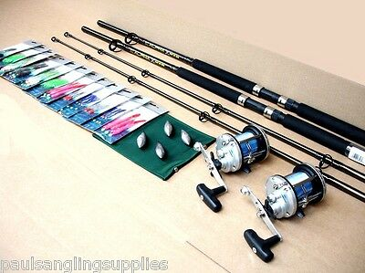 2 x  Boat Fishing Rods & Multiplier Reels and all Tackle Needed to Fish Kit