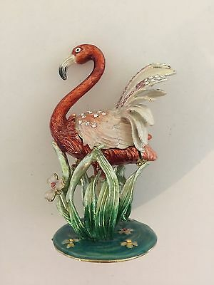 Bejeweled Flamingo  Statue Figure Trinket Jewelry Box