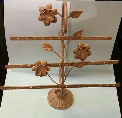 Pink Iron Jewelry Display Stand Tree with Flowers