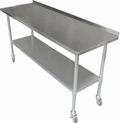 1829 x 610mm NEW STAINLESS STEEL PORTABLE WORK BENCH TABLE W/ WHEELS SPLASH BACK