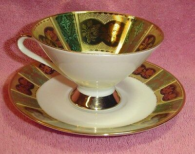Collectible Porcelain Tea Cup & Saucer Wiuterliug Bavaria Gold Roses