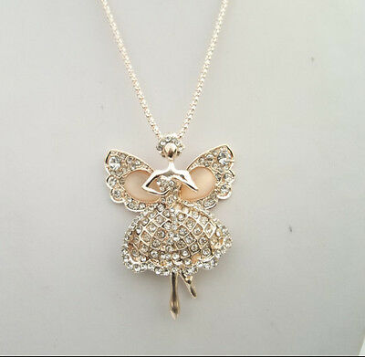 free ship1pcs Occident style fashion crystal cat's eye angel charms necklace