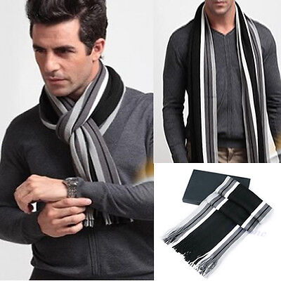New Men Winter Warm Mixed Color Striped Fringe Soft Long Scarves