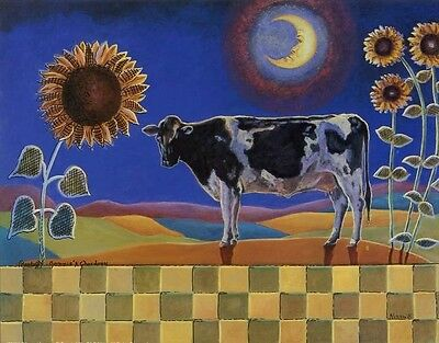 COUNTRY COW WITH SUNFLOWERS - 10x8 In. Art Print