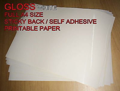 20x A4 White [Gloss] Self Adhesive Sticker Paper Sheet Address Label UK
