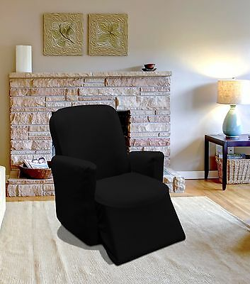 Black Jersey Recliner Stretch Slipcover, Couch Cover, Furniture Sofa, Kashi Home