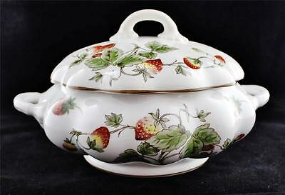 Coalport China, England STRAWBERRY Round Covered Casserole, Repaired Lid