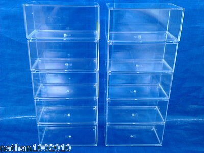 10x CLEAR ACRYLIC DISPLAY CASE DIECAST MODEL CAR F1 WRC BARGAIN STACKABLE 1/43