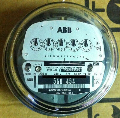 Abb, Watthour Meter (Kwh) Ab1, 5 Pointer Style, 4 Lugs, 240V, 200A, Fm 2S