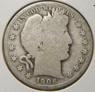 1906-S~Barber Half Dollar~~Silver Beauty~~Good
