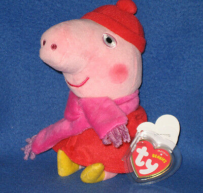 TY  PEPPA PIG MUDDY PUDDLES BEANIE BABY UK EXCLUSIVE NEW MINT with MINT TAGS
