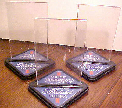 Lot Of 3 Michelob Ultra Light Beer Plastic Table Top Menu Insert Holders Good