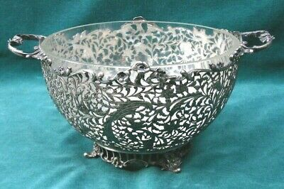 Dutch 934 Sterling Silver Two Handle Center Bowl & Glass  MAGNIFICENT