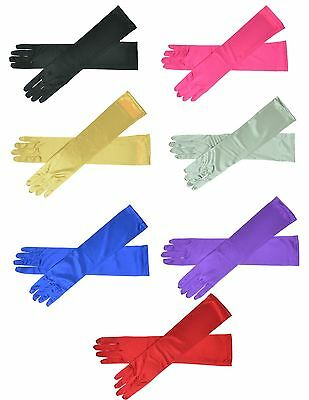 "16"" Long Satin Stretch Gloves Bridal Prom Wedding Formal 9 Colors"