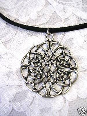 New X Large Round Celtic Woven Knot Infinity Weave Forever Pendant Adj Necklace