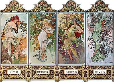 "Four Seasons Art Nouveau Deco Print Alphonse Mucha 16x11"" Poster NEW Printemps"