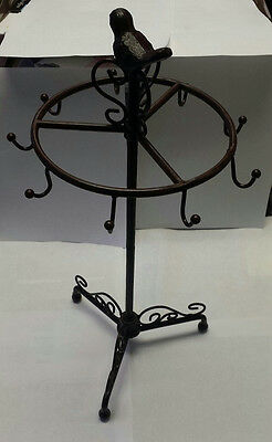 Brown Iron Jewelry Display Stand Tree with Bird on Top