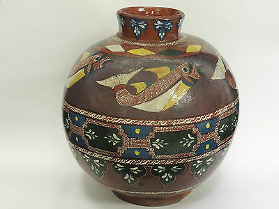 LARGE LATE 19 c OTTOMAN RICH DECORATED EARTHENWARE POTTERY VASE w/ FISH MOTIF