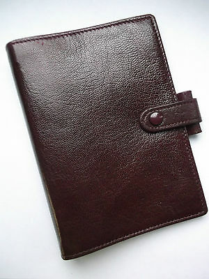 Original Filofax Kid Leather Pocket Size File Dark Burgundy Diary Organiser  New