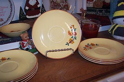 Set Lot of 8 Taylor Smith Taylor Vintage Reveille Rooster 6 1/2 inch Saucers