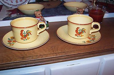 2 Sets Taylor Smith Taylor Vintage Reveille Rooster Tea cups and saucers Coffee