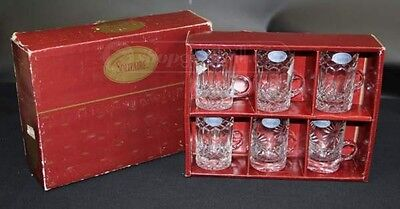 VINTAGE SOLITAIRE CRYSTAL SET OF SIX CUPS!  Brand new with wears on the box