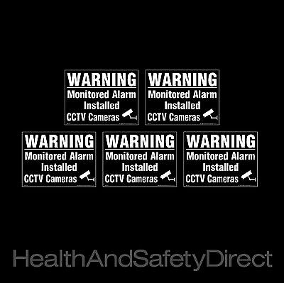 Cctv - Warning Alarm Monitored *pack Of 5* Window Stickers All Sizes! (Misc36R)
