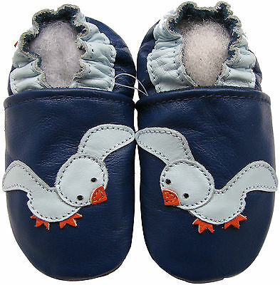 carozoo seagull blue 0-6m soft sole leather baby shoes